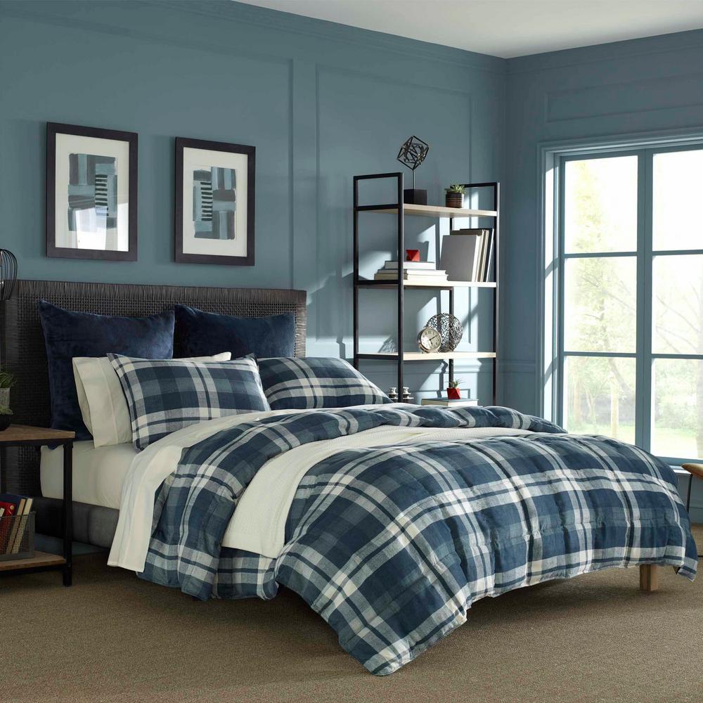 Crossview Plaid Navy 3-Piece Micro Suede Comforter set, Full/Queen