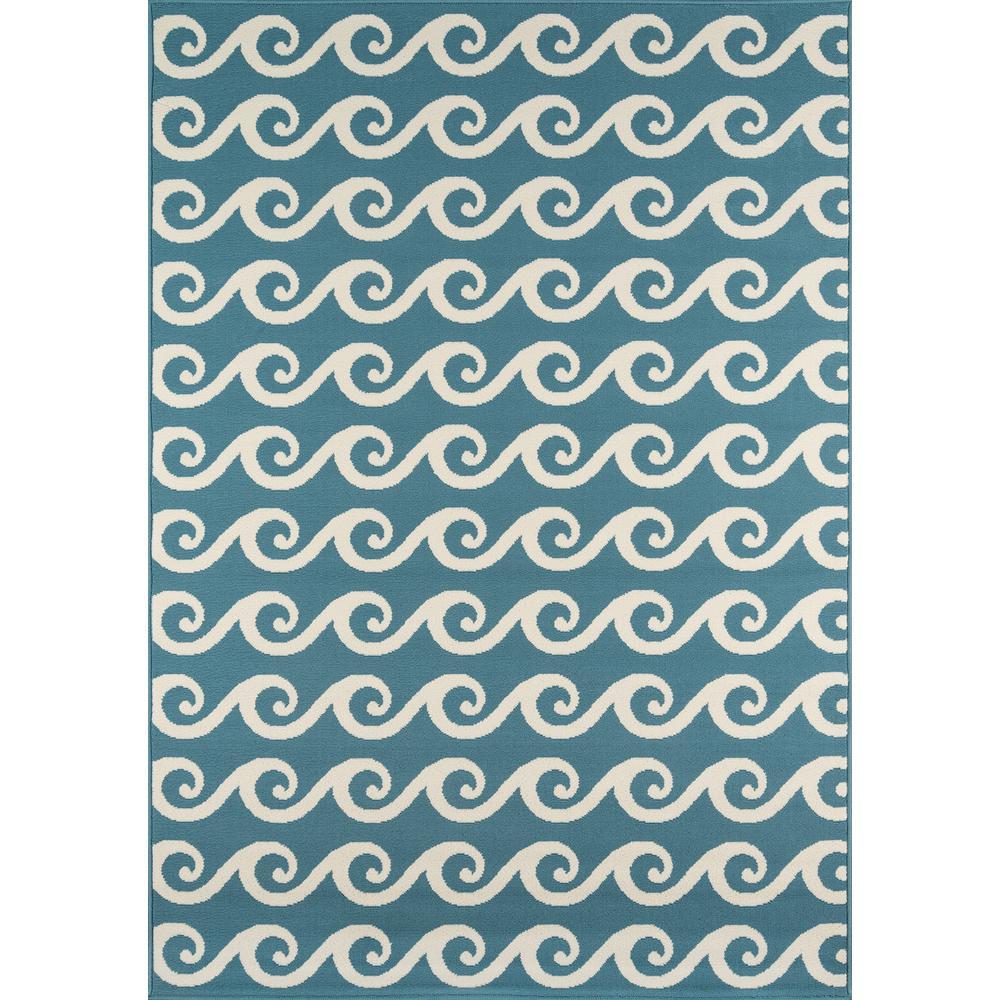 Baja Waves Blue 7 ft. 10 in. x 10 ft. 10 in. Indoor/Outdoor Area Rug