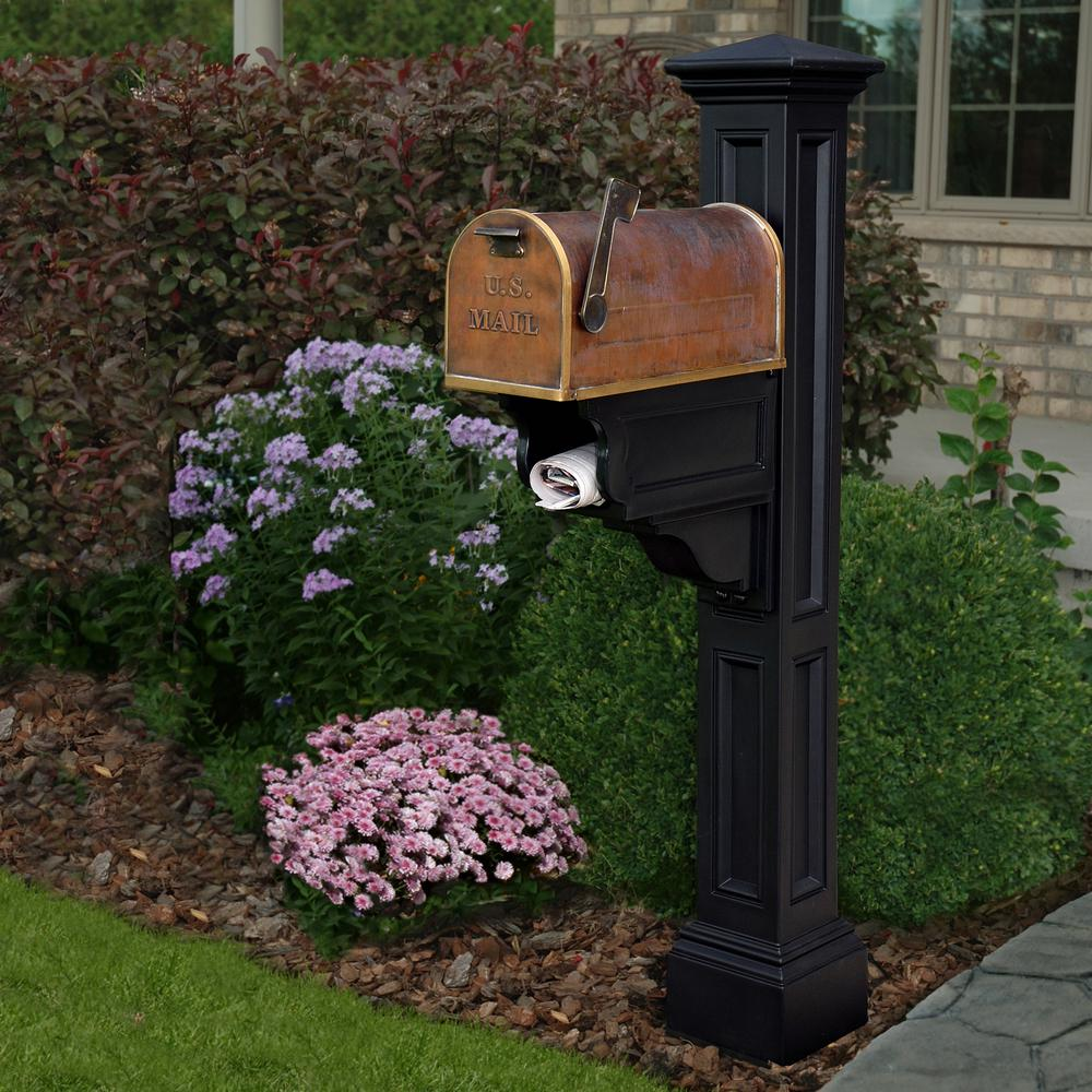 Mayne Charleston Plus Mailbox Post, Black