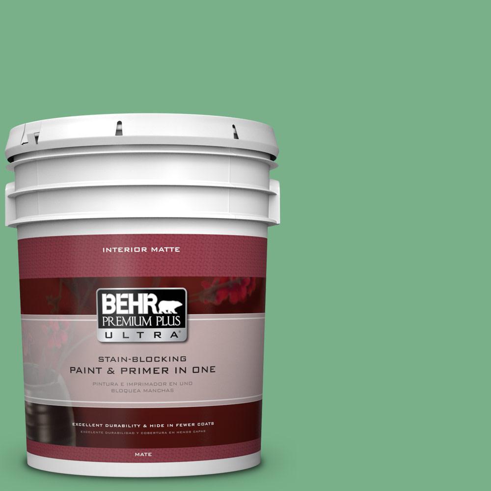 BEHR Premium Plus Ultra 5 gal. #M410-5 Green Bank Matte Interior Paint