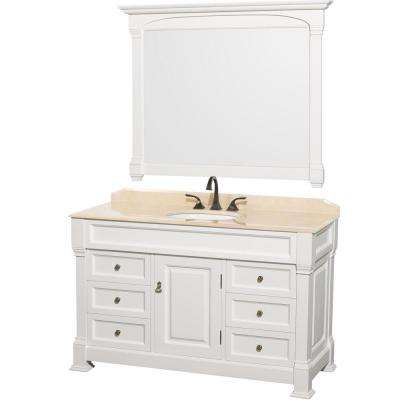Andover 55 in. Vanity in White with Marble Vanity Top in Ivory and Mirror