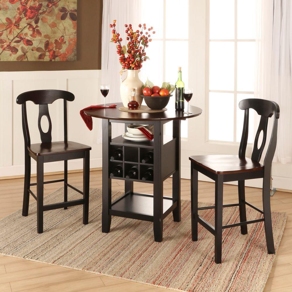 Kamerfield 3-Piece Black Bar Table Set