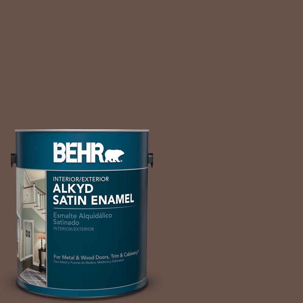 1 gal. #PPU5-18 Chocolate Swirl Satin Enamel Alkyd Interior/Exterior Paint