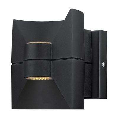 Redondo 2-Light Matte Black Outdoor Integrated LED Wall Light