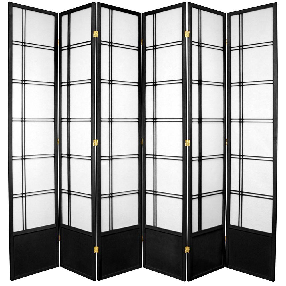 7 ft Black 6 Panel Room Divider 84 DC BLK 6P The Home Depot