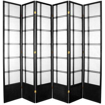 7 ft. Black 6-Panel Room Divider