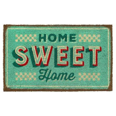 Off-White 18 in. x 30 in. Retro Home Sweet Home Coir Doormat