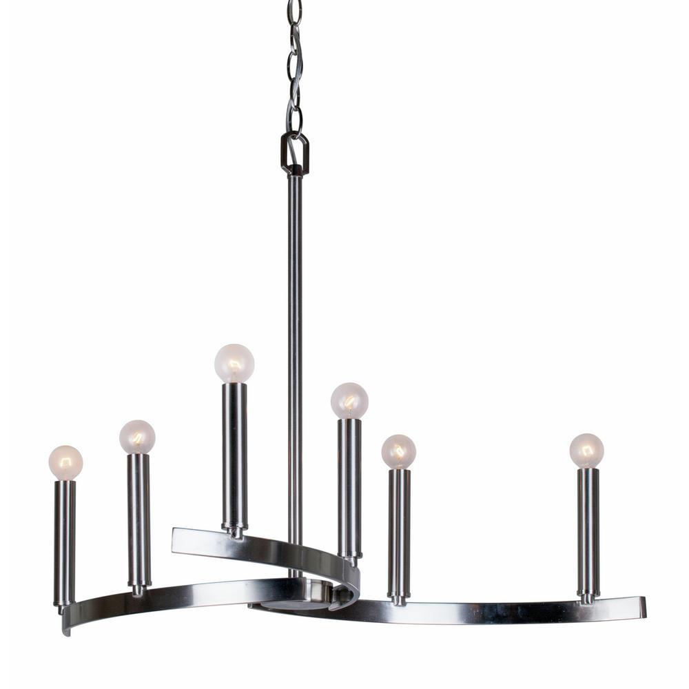 6 -Light Brushed Nickel Chandelier