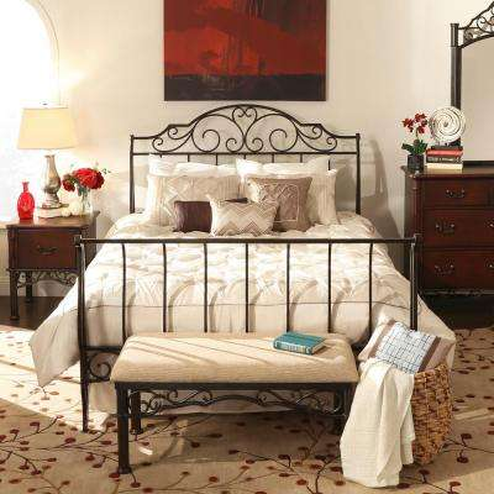 Gold Queen Sleigh Bed
