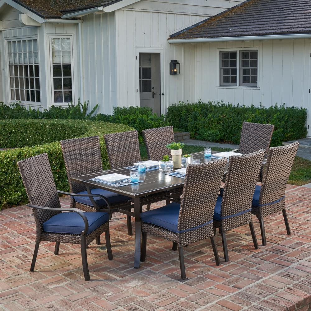 Royal Garden Anacortes 9 Piece Aluminum Outdoor Dining Set With Midnight Cushions