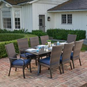 Royal Garden Anacortes 9-Piece Aluminum Outdoor Dining Set with Midnight Cushions by Royal Garden