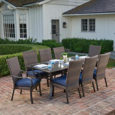 Anacortes 9-Piece Aluminum and Steel Outdoor Dining Set with Midnight Cushions