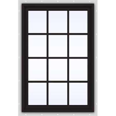35.5 in. x 47.5 in. V-4500 Series Fixed Picture Vinyl Window with Grids in Black