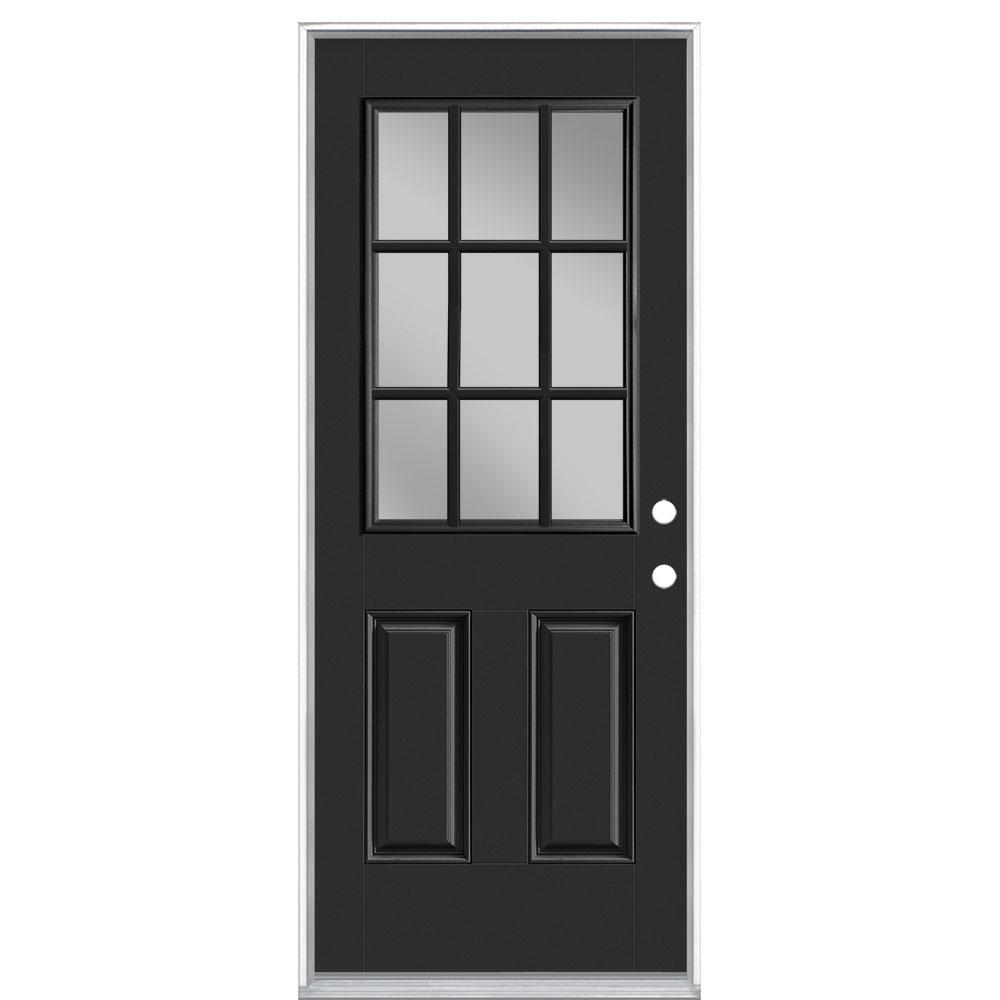 32 in. x 80 in. 9 Lite Jet Black Left Hand Inswing Painted Smooth Fiberglass Prehung Front Door with No Brickmold
