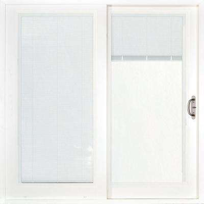 60 in. x 80 in. Woodgrain Interior and Smooth White Right-Hand Composite Sliding Patio Door with Built in Blinds