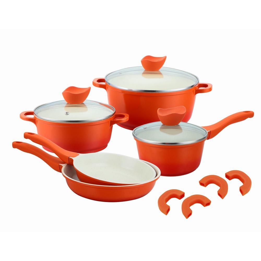 8-Piece Orange Die-Cast Aluminium Cookware Set