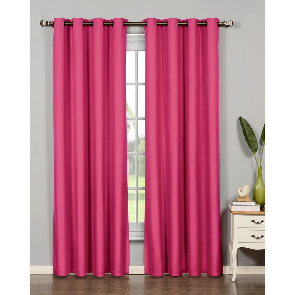 Semi-Opaque Emma Microfiber Extra Wide 84 in. L Room Darkening Grommet Curtain Panel Pair, Pink (Set of 2)