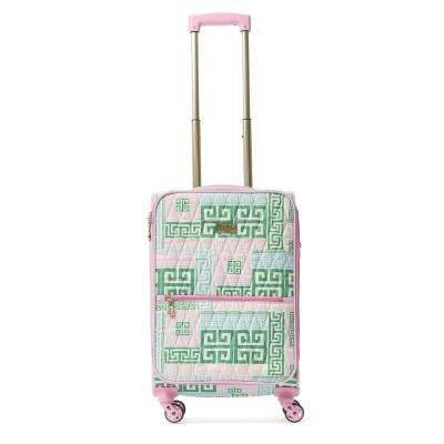 PrepSet 28 in. Green and Pink Rolling Luggage Suitcase