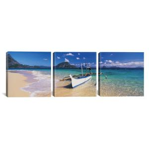 Fishing Boat Moored On The Beach Palawan Philippines By Panoramic Images Canvas Wall Art