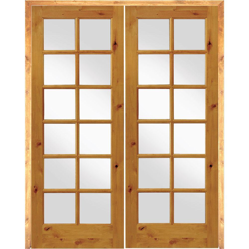 56 in. x 96 in. Rustic Knotty Alder 12-Lite Left Handed Solid Core Wood Double Prehung Interior Door