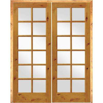 60 in. x 96 in. Rustic Knotty Alder 12-Lite Both Active Solid Core Wood Double Prehung Interior Door