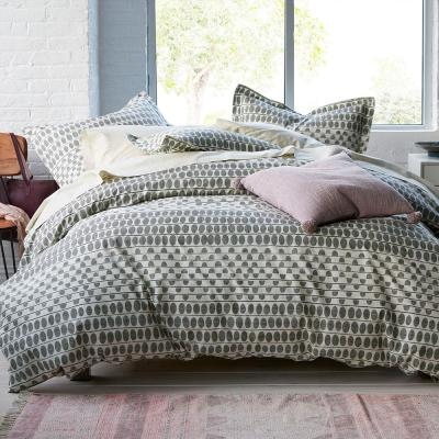 Engraved Dot Gray/Ivory Geometric Organic Cotton Percale King Duvet Cover