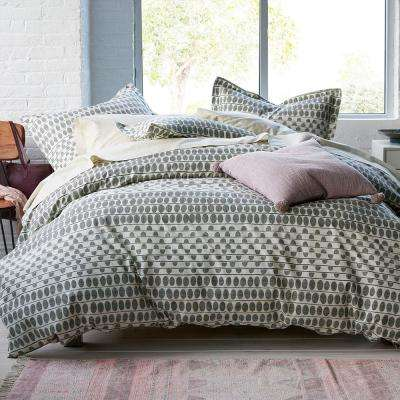 Engraved Dot Gray/Ivory Organic Percale Twin XL Duvet Cover