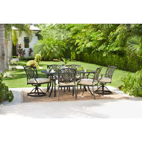 Hampton Bay Belcourt 7 Piece Metal Outdoor Dining Set With Cushionguard Oatmeal Cushions D11334g 7pc2 The Home Depot - Replacement Glass Patio Table Tops Hampton Bay
