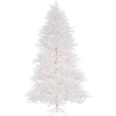 7.5 ft. Snowy Alpine Artificial Christmas Tree with SLED String Lighting