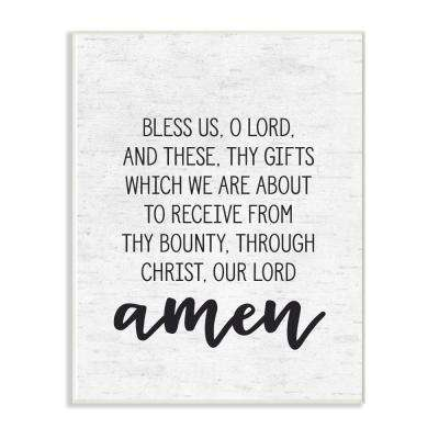 """10 in. x 15 in. """"Bless Us O Lord Before Meal Prayer Subtle Birch Typography"""" by Artist Lettered and Lined Wood Wall Art"""