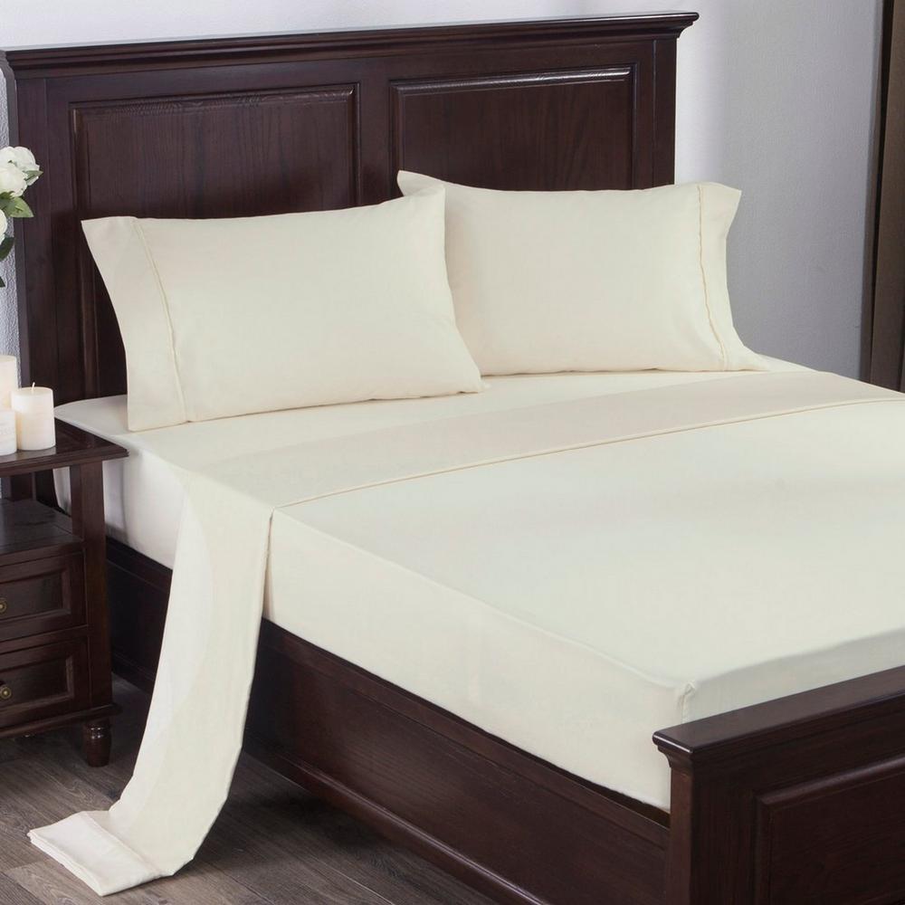 300 Thread Count 100% Cotton Satin Weave 4-Piece Bed Sheet Set Queen in Beige
