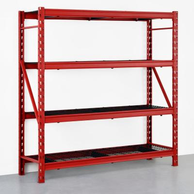Red 4-Tier Heavy Duty Industrial Welded Steel Garage Shelving Unit (77 in. W x 78 in. H x 24 in. D)