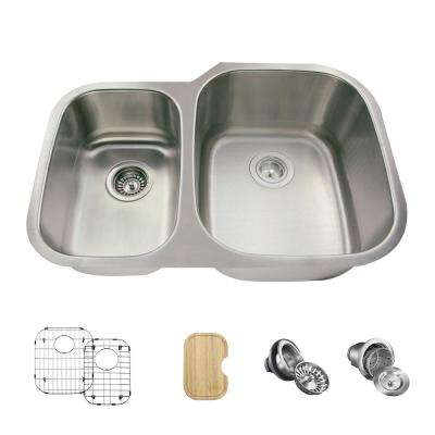 All-in-One Undermount Stainless Steel 29 in. Right Double Bowl Kitchen Sink