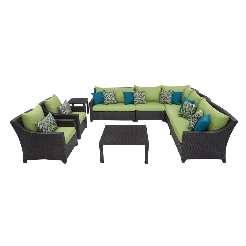 Deco 9-Piece Patio Corner Sectional and Club Chair Set with Ginkgo