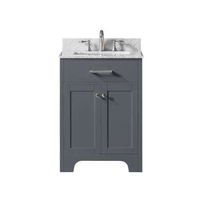 25 in. W x 22 in. D x 34.2 in. H Bath Vanity in Cashmere Grey w/ Carrara Marble Vanity Top in White w/ White Basin