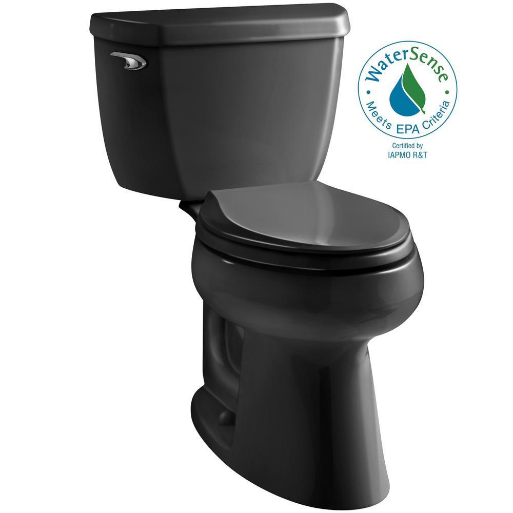 Highline Classic 2-Piece 1.0 GPF Single Flush Elongated Toilet in Black Black