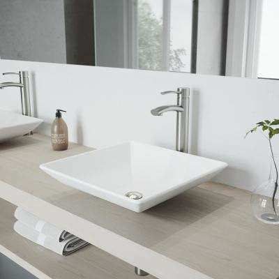 Hibiscus Matte Stone Vessel Sink and Brushed Nickel Milo Faucet Set with Pop-up Drain in Matte White
