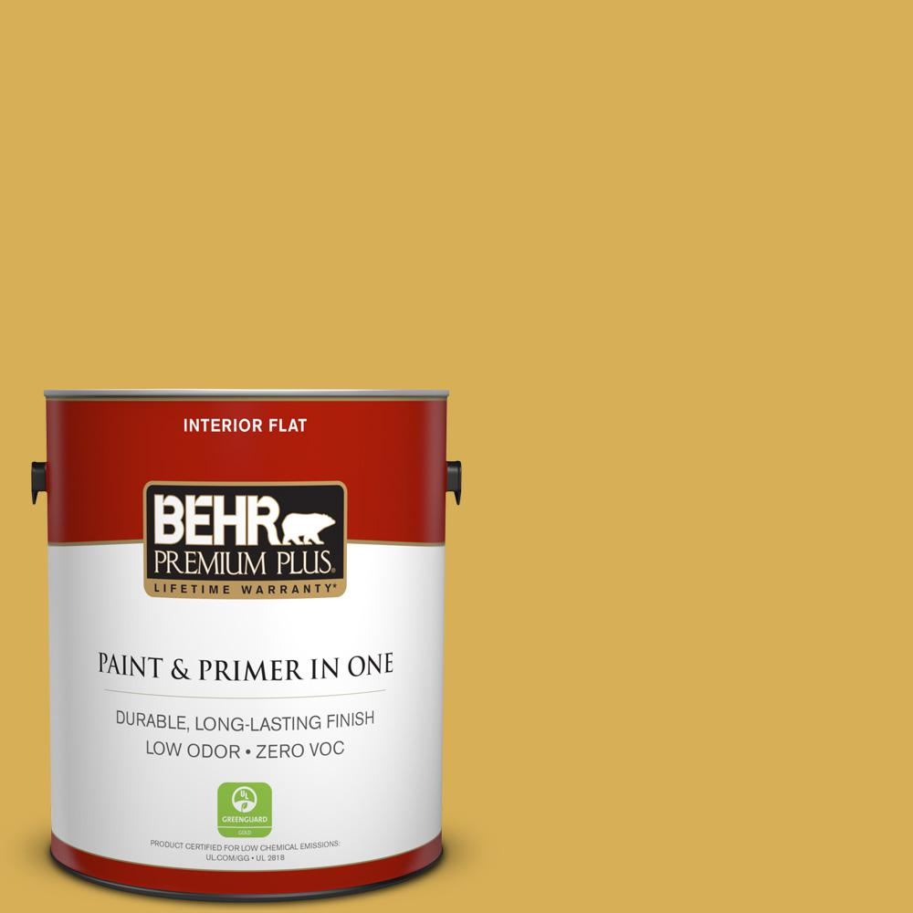 BEHR Premium Plus 1 gal. #370D-6 Golden Cricket Flat Zero VOC Interior Paint and Primer in One