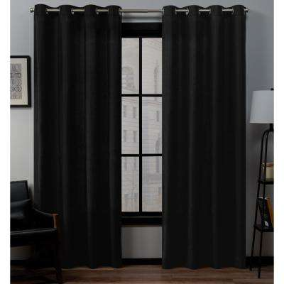 Loha 54 in. W x 96 in. L Linen Blend Grommet Top Curtain Panel in Midnight (2 Panels)