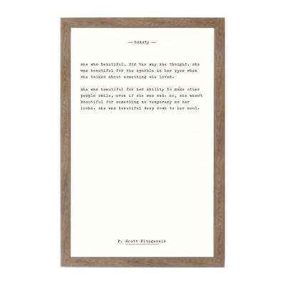 Beauty - F. Scott Fitzgerald, RUSTIC BROWN FRAME, Magnetic Memo Board