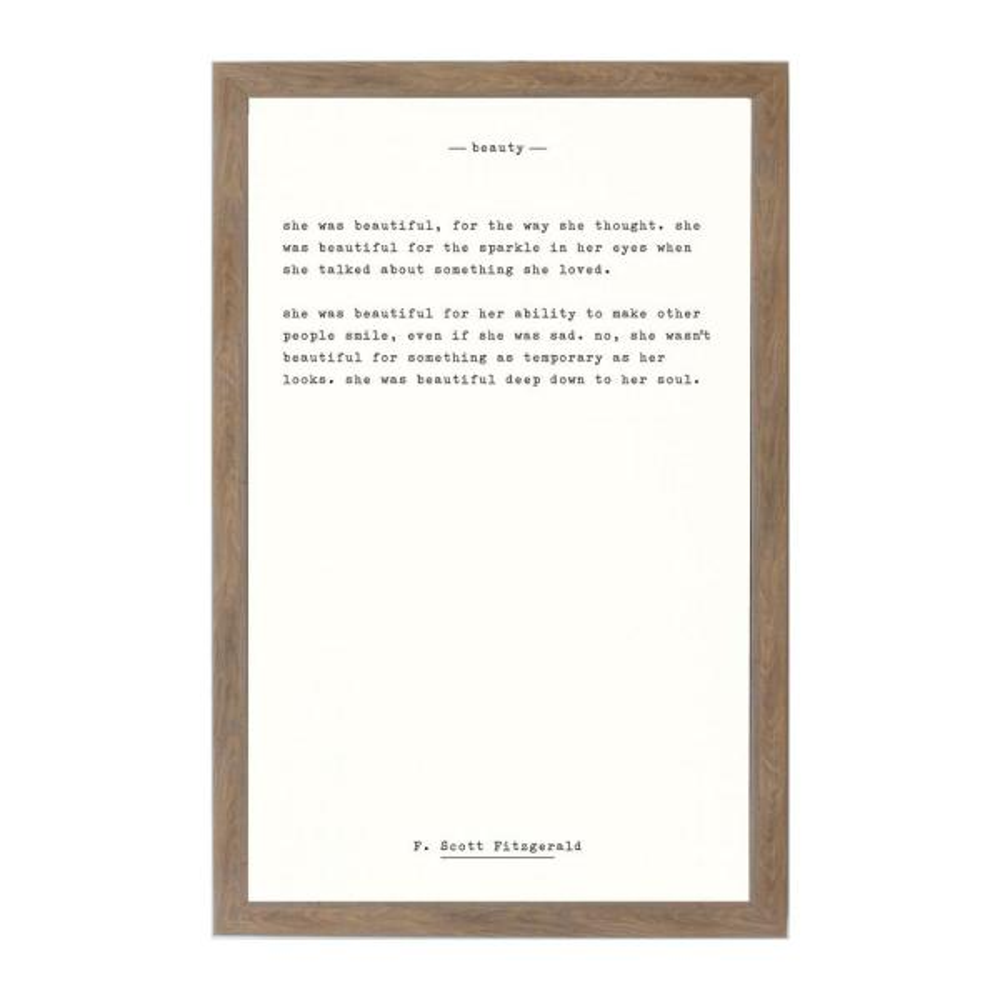 Beauty - F. Scott Fitzgerald, Rustic Brown Frame, Magnetic Memo Board