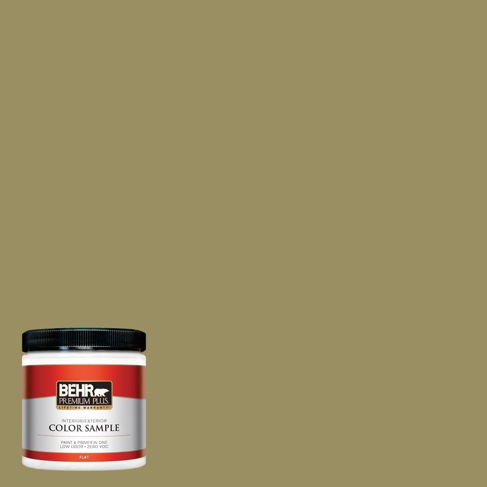 BEHR Premium Plus 8 oz. #390F-6 Tate Olive Interior/Exterior Paint Sample