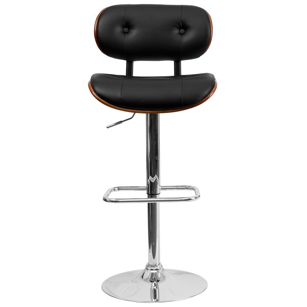 Adjustable Height Black and Walnut Cushioned Bar Stool