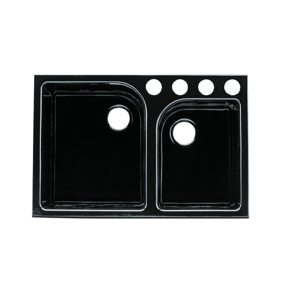 KOHLER Executive Chef Tile-In Cast-Iron 33 in. 4-Hole Double Bowl Kitchen Sink in Black Black