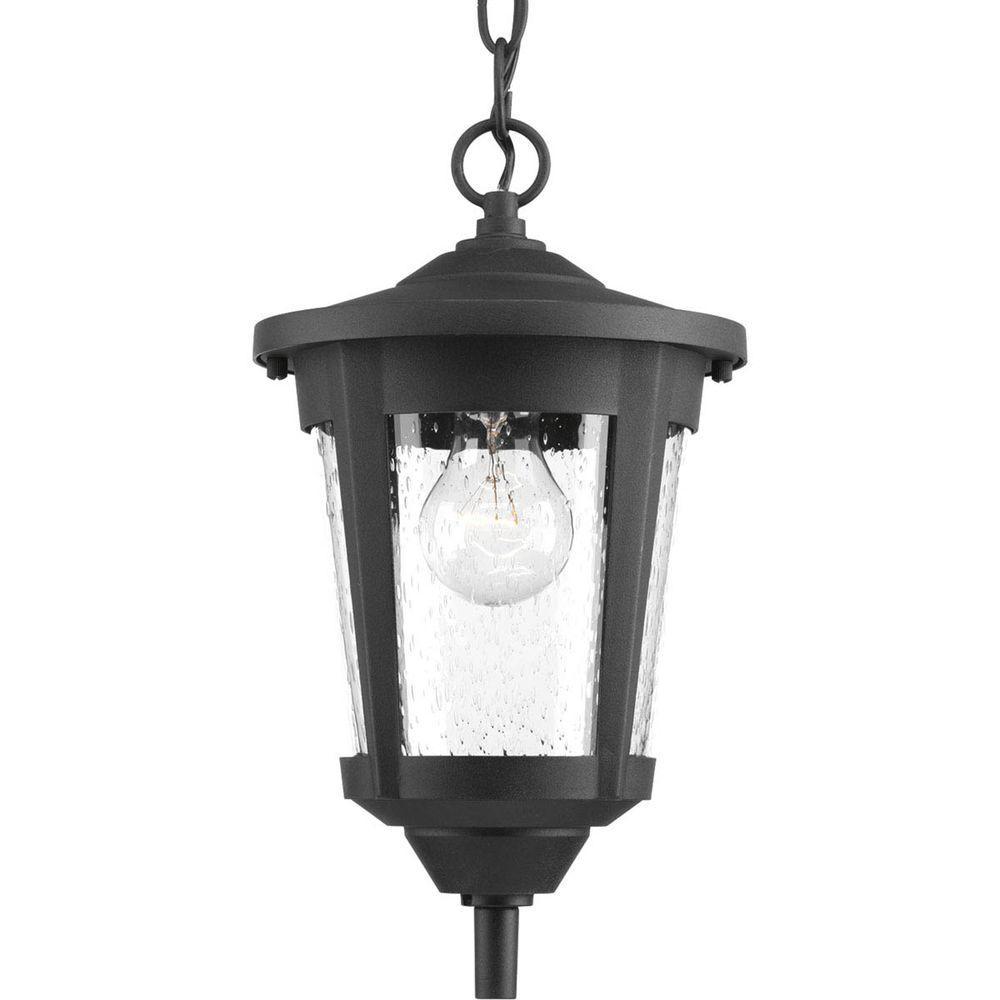 Progress Lighting East Haven Collection 1-Light Outdoor Black Hanging Lantern
