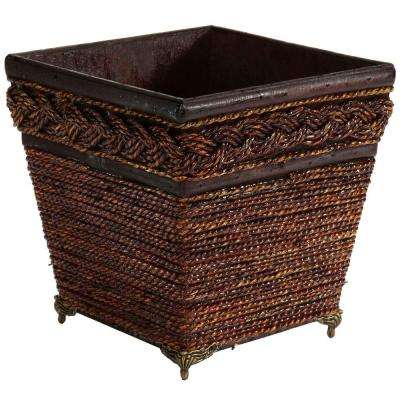 7.25 in. H Brown Lacquered Coiled Rope Decorative Planter