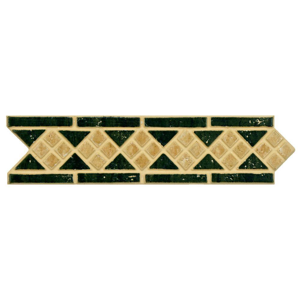 Merola Tile Intarsia Beige Verde 2-1/2 in. x 10-3/16 in. Porcelain Listello Floor and Wall Trim Tile