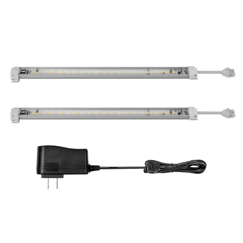 xkglow 12 in 40 led warm white under cabinet light bar kit 2 pack xk101012 2 w the home depot. Black Bedroom Furniture Sets. Home Design Ideas