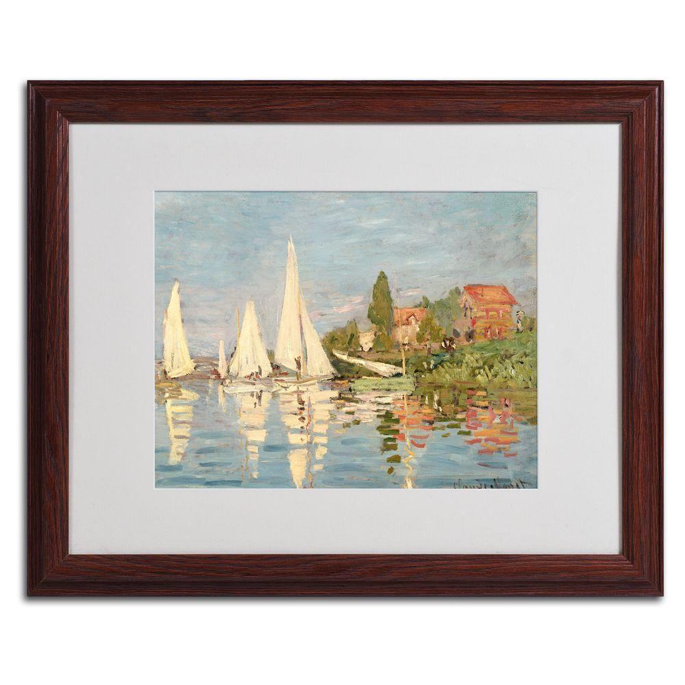 Trademark Fine Art 16 in. x 20 in. Regatta at Argenteuil Matted Brown Framed Wall Art