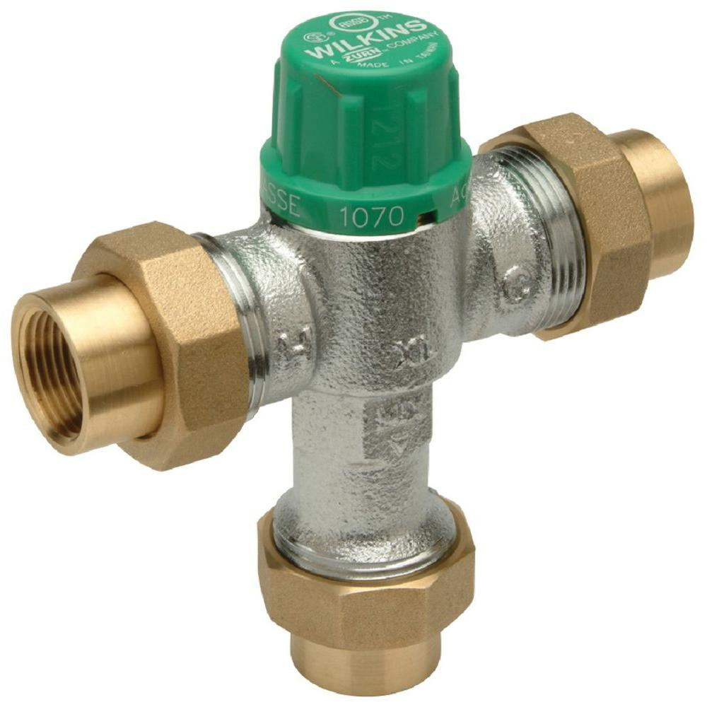 Thermostatic Mixing Valve: Zurn-Wilkins 1/2 In. Lead-Free FNPT Aqua-Gard Thermostatic